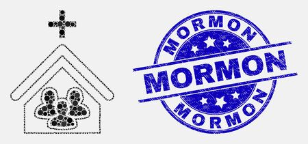 Dotted church people mosaic pictogram and Mormon seal stamp. Blue vector rounded scratched seal stamp with Mormon text. Vector collage in flat style.