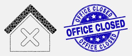 Dot closed house mosaic pictogram and Office Closed seal stamp. Blue vector round scratched stamp with Office Closed title. Vector collage in flat style.
