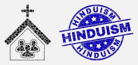 Icono de mosaico de personas de iglesia de píxeles y sello de sello de hinduismo. Sello de socorro redondeado vector azul con texto de hinduismo. Composición vectorial en estilo plano.