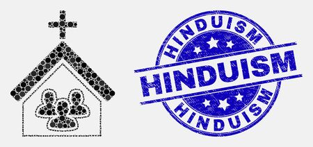 Pixel church people mosaic icon and Hinduism seal stamp. Blue vector rounded distress stamp with Hinduism text. Vector composition in flat style. Çizim