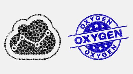Dotted chart cloud mosaic pictogram and Oxygen seal stamp. Blue vector rounded distress seal with Oxygen phrase. Vector collage in flat style. Black isolated chart cloud mosaic of scattered circles,