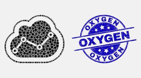 Pictogramme de mosaïque de nuage en pointillés et timbre de sceau d'oxygène. Sceau de détresse arrondi de vecteur bleu avec phrase Oxygène. Collage de vecteur dans un style plat. Mosaïque de nuage de graphique isolé noir de cercles épars,