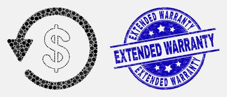Pixelated dollar refund mosaic icon and Extended Warranty seal stamp. Blue vector rounded scratched seal with Extended Warranty phrase. Vector composition in flat style.