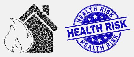 Dot house fire damage mosaic icon and Health Risk stamp. Blue vector rounded grunge seal stamp with Health Risk message. Vector collage in flat style.