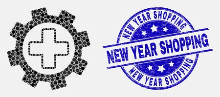 Pixel medical settings mosaic icon and New Year Shopping watermark. Blue vector round scratched watermark with New Year Shopping text. Vector combination in flat style. Иллюстрация