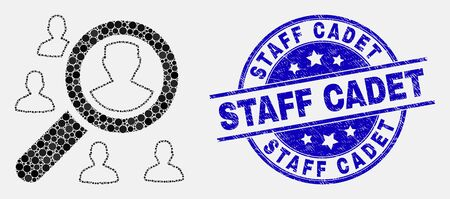 Dot search users mosaic icon and Staff Cadet seal stamp. Blue vector rounded grunge seal stamp with Staff Cadet message. Vector combination in flat style.