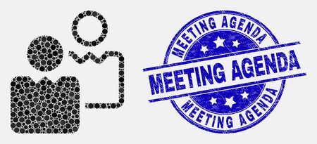 Pixel-Benutzer-Mosaik-Symbol und Meeting-Agenda-Siegel. Blauer Vektor runder Notstempel mit Tagesordnungstext. Vektorcollage im flachen Stil. Schwarzes isoliertes Benutzermosaik aus verstreuten Kugeln,