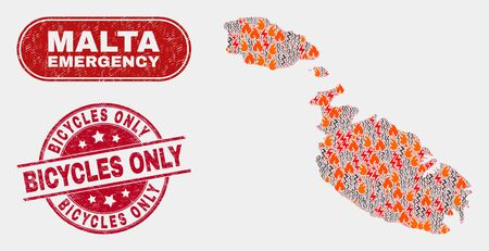 Vector composition of hazard Malta map and red round scratched Bicycles Only seal stamp. Emergency Malta map mosaic of burning, energy hazard items. Vector composition for fire protection services,
