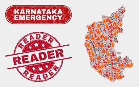 Vector composition of danger Karnataka State map and red round textured Reader seal stamp. Emergency Karnataka State map mosaic of destruction, energy flash icons.