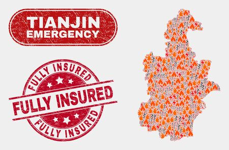 Vector collage of danger Tianjin City map and red rounded grunge Fully Insured stamp. Emergency Tianjin City map mosaic of wildfire, energy flash icons. Vector combination for emergency services, Illustration
