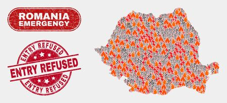 Vector composition of wildfire Romania map and red rounded textured Entry Refused watermark. Emergency Romania map mosaic of burning, electric strike items. Vector composition for emergency services,