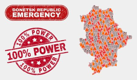 Vector composition of hazard Donetsk Republic map and red rounded textured 100% Power stamp. Emergency Donetsk Republic map mosaic of fire, electric flash symbols. Illustration