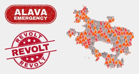 Vector composition of disaster Alava Province map and red round scratched Revolt stamp. Emergency Alava Province map mosaic of fire, electric hazard icons. Vector composition for emergency services,