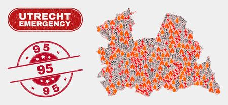 Vector collage of wildfire Utrecht Province map and red round scratched 95 watermark. Emergency Utrecht Province map mosaic of wildfire, power lightning icons. Vector composition for safety services,