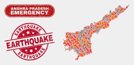 Vector collage of firestorm Andhra Pradesh State map and red rounded scratched Earthquake seal. Emergency Andhra Pradesh State map mosaic of fire, electric hazard items.