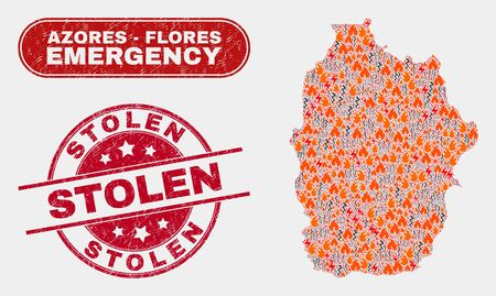 Vector collage of disaster Flores Island of Azores map and red rounded distress Stolen seal stamp. Emergency Flores Island of Azores map mosaic of fire, power hazard symbols.