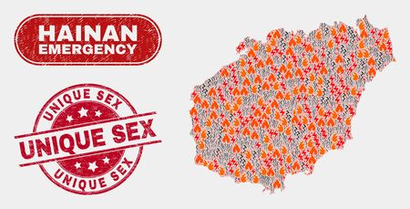 Vector composition of firestorm Hainan map and red rounded distress Unique Sex seal stamp. Emergency Hainan map mosaic of wildfire, power lightning symbols. Vector composition for insurance services, Illustration