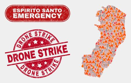 Vector collage of firestorm Espirito Santo State map and red round grunge Drone Strike stamp. Emergency Espirito Santo State map mosaic of destruction, energy lightning items.
