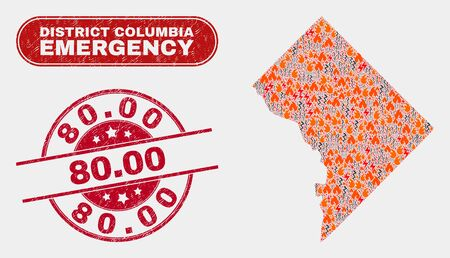 Vector composition of disaster Washington District Columbia map and red rounded textured 80.00 seal stamp. Emergency Washington District Columbia map mosaic of wildfire, power lightning symbols. 일러스트