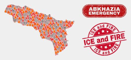 Vector collage of disaster Abkhazia map and red round grunge Ice and Fire stamp. Emergency Abkhazia map mosaic of flame, electric shock symbols. Vector collage for fire protection services,
