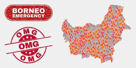 Vector collage of disaster Borneo map and red round textured Omg stamp. Emergency Borneo map mosaic of wildfire, energy hazard icons. Vector collage for emergency services, and Omg stamp. Illustration