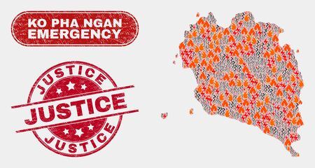 Vector composition of hazard Ko Pha Ngan map and red rounded textured Justice seal stamp. Emergency Ko Pha Ngan map mosaic of destruction, power flash icons. Illustration