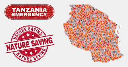 Vector collage of danger Tanzania map and red round textured Nature Saving stamp. Emergency Tanzania map mosaic of wildfire, power flash symbols. Vector collage for fire protection services,