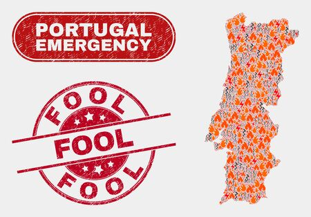 Vector composition of hazard Portugal map and red rounded grunge Fool watermark. Emergency Portugal map mosaic of burning, energy hazard icons. Vector collage for emergency services,