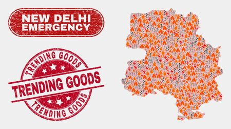 Vector composition of disaster New Delhi City map and red round grunge Trending Goods seal stamp. Emergency New Delhi City map mosaic of destruction, electric flash icons.