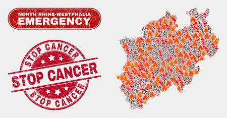 Vector composition of disaster North Rhine-Westphalia Land map and red round textured Stop Cancer seal. Emergency North Rhine-Westphalia Land map mosaic of wildfire, energy lightning icons.