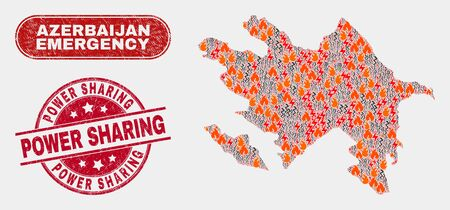 Vector composition of wildfire Azerbaijan map and red round grunge Power Sharing stamp. Emergency Azerbaijan map mosaic of destruction, power strike items. Vector composition for emergency services, 写真素材 - 127127742