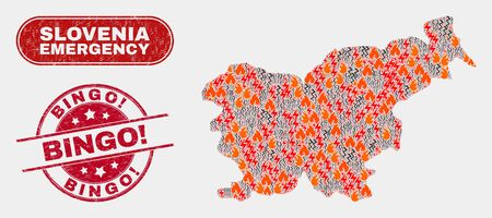 Vector composition of danger Slovenia map and red rounded scratched Bingo! seal. Emergency Slovenia map mosaic of flame, electric lightning icons. Vector composition for emergency services, Illustration