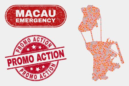 Vector collage of firestorm Macau map and red rounded distress Promo Action seal stamp. Emergency Macau map mosaic of destruction, energy hazard icons. Vector collage for guard services,