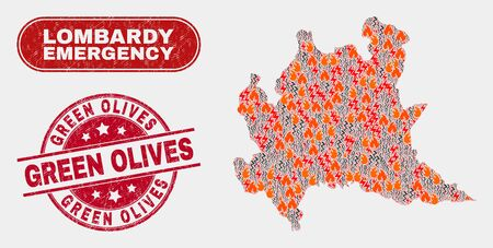 Vector collage of wildfire Lombardy region map and red round textured Green Olives watermark. Emergency Lombardy region map mosaic of burning, power hazard items.