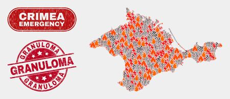 Vector collage of wildfire Crimea map and red round textured Granuloma stamp. Emergency Crimea map mosaic of wildfire, energy flash icons. Vector collage for emergency services,