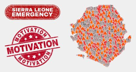 Vector composition of firestorm Sierra Leone map and red rounded textured Motivation seal stamp. Emergency Sierra Leone map mosaic of fire, power shock symbols. Vector combination for guard services,