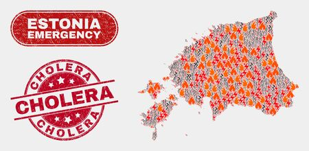 Vector collage of wildfire Estonia map and red rounded distress Cholera seal. Emergency Estonia map mosaic of wildfire, electric hazard items. Vector collage for safety services,