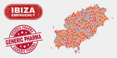 Vector composition of disaster Ibiza Island map and red rounded grunge Generic Pharma seal stamp. Emergency Ibiza Island map mosaic of flame, power flash icons. Vector composition for safety services,