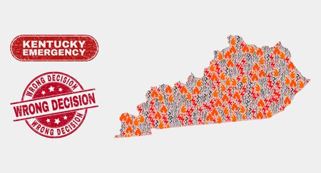 Vector composition of wildfire Kentucky State map and red round textured Wrong Decision seal stamp. Emergency Kentucky State map mosaic of wildfire, power hazard items.