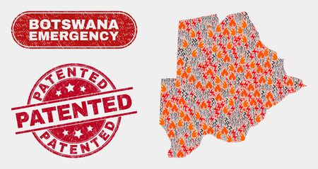 Vector collage of disaster Botswana map and red rounded distress Patented stamp. Emergency Botswana map mosaic of wildfire, energy hazard icons. Vector collage for emergency services,