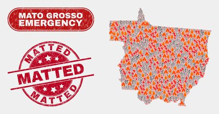 Vector composition of firestorm Mato Grosso State map and red round textured Matted stamp. Emergency Mato Grosso State map mosaic of fire, power flash symbols.