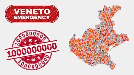 Vector collage of wildfire Veneto region map and red round scratched 1000000000 seal stamp. Emergency Veneto region map mosaic of wildfire, electric flash items.
