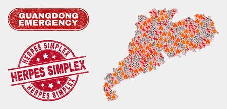Vector composition of firestorm Guangdong Province map and red round distress Herpes Simplex seal stamp. Emergency Guangdong Province map mosaic of wildfire, electric lightning items.