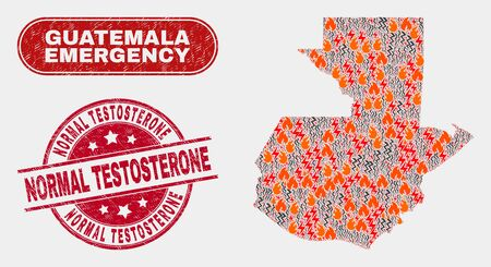 Vector collage of hazard Guatemala map and red round scratched Normal Testosterone seal stamp. Emergency Guatemala map mosaic of burning, energy strike symbols.