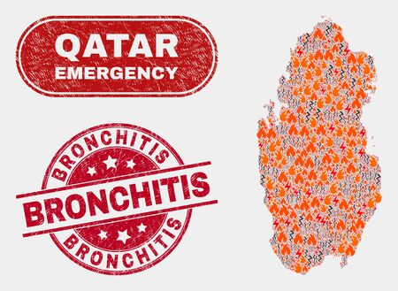 Vector composition of hazard Qatar map and red round grunge Bronchitis seal. Emergency Qatar map mosaic of burning, energy lightning elements. Vector composition for emergency services,