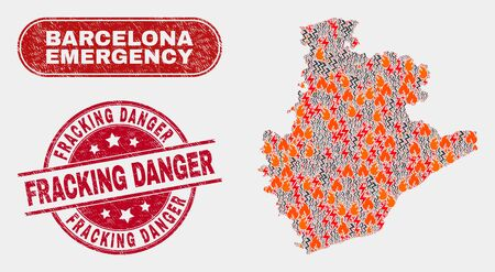 Vector collage of hazard Barcelona Province map and red round textured Fracking Danger seal. Emergency Barcelona Province map mosaic of wildfire, power hazard elements.