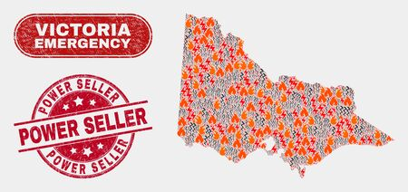 Vector collage of danger Australian Victoria map and red round distress Power Seller watermark. Emergency Australian Victoria map mosaic of fire, electric lightning elements.  イラスト・ベクター素材