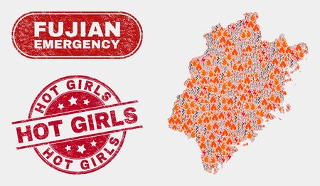 Vector composition of wildfire Fujian Province map and red rounded textured Hot Girls seal stamp. Emergency Fujian Province map mosaic of burning, electric lightning icons.