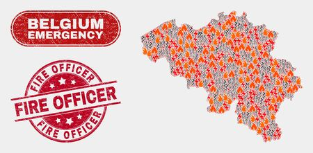 Vector composition of wildfire Belgium map and red round scratched Fire Officer watermark. Emergency Belgium map mosaic of wildfire, energy lightning symbols. Illustration