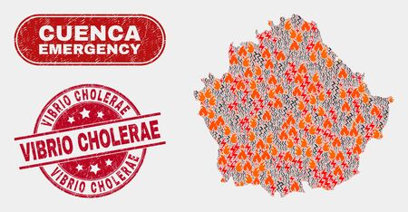 Vector composition of firestorm Cuenca Province map and red round textured Vibrio Cholerae seal stamp. Emergency Cuenca Province map mosaic of destruction, energy flash items.